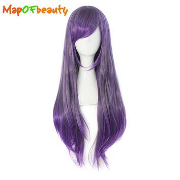 "MapofBeauty 28"" Long Straight cosplay Wigs yellow purple ombre wig Colors Heat Resistant synthetic Hair Natural women Fake Hair"