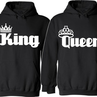 King And Queen Couple Hoodies  For Her For Him Unisex Sizes, So Comfy Cozy, Perfect for any day to share your love Valentine's Day Gifts