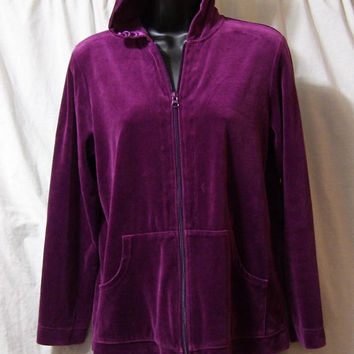 Jogging, Spa Jacket, Hoodie, Size S Small, Zip Front Purple Velour Chico's, Lounging, Resort Cruise Wear