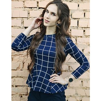 Plaid Peplum Ruffle Office Ladies Work Elegant Blouse Grid Long Sleeve Top Women Elegant Blouse Shirt