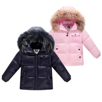 New 2018 winter down jacket for boys 2-8 years children's clothing thicken outerwear & coats with nature fur hooded parka kids