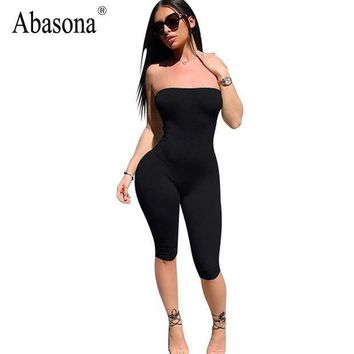 Abasona Strapless Black Solid Spandex Playsuits Off Shoulder Summer Shorts Rompers Womens Jumpsuit Backless Female Bodysuits