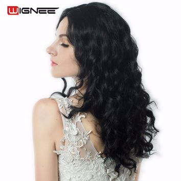 "Wignee None Lace 18"" Medium Length Middle Part Body Wave Synthetic Wigs Natural Hair For Black/White Women Glueless Cosplay Wigs"