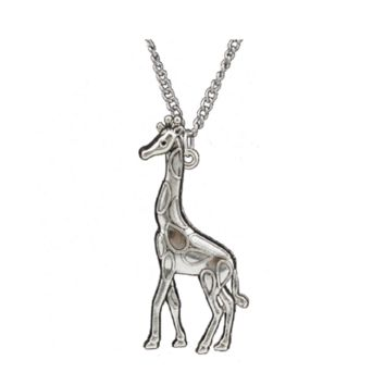 Vintage Silver Giraffe Pendant Necklace For Women