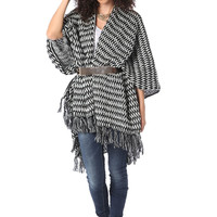 Pattern Knit Fringed Edge Cape