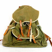 Canvas Military Camping Backpack - Leather Hard Frame Bag