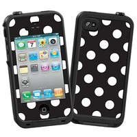 White Polka Dot on Black Skin  for the iPhone 4/4S Lifeproof Case by skinzy.com