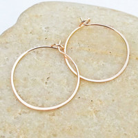 Small Skinny 14K Rose Gold Filled Hoops, Thin 24 Gauge, Hand Forged