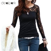 2017 Women t Shirts Stretch Floral Lace Patchwork O Neck Long Sleeve Slim Fit Simple Tops Camisetas Femininas Black/White