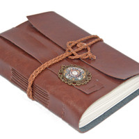 Light Brown Vegan Faux Leather Journal with Cameo Bookmark