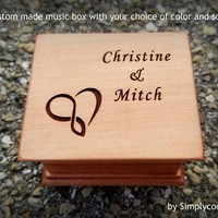 anniversary gift, engagement gift, infinity heart, I love you, music box, wooden music box, custom music box, personalized, Simplycoolgifts