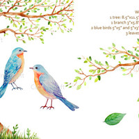 Wedding clipart - Hand painted watercolor tree with heart ,branch,  2 blue birds  printable instant download  for  wedding invitations