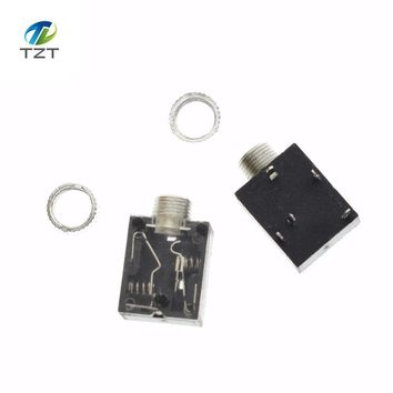 10PCS/Lot PJ-324M 3.5MM Stereo Audio Socket/Jack Connector with nut 5Pin PCB Panel Mounting for headphone