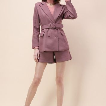 Genteel Double-breasted Blazer and Shorts Set in Rosy Brown