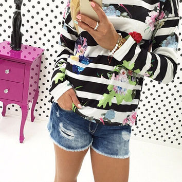 Black and White Floral Print Striped Sweatshirt