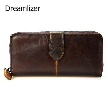 Dreamlizer Vintage Oil Real Leather Women Wallet Large Compartment Long Leather Female Clutch Purse Cellphone Bag Wallet Lady