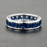Emerald Cut Blue Sapphire Wedding Band Eternity Anniversary Ring 14K White Gold