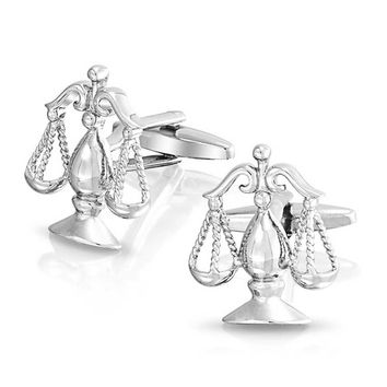 Attorney Judge Lawyer Scale of Justice Libra Cufflinks Stainless Steel