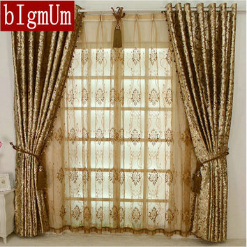 NEW ARRIVAL Europen Style LUXURY Palace Curtains With Beads For Hotel/Villa/Living Room Custom-made Golden Ivory Dark Brown