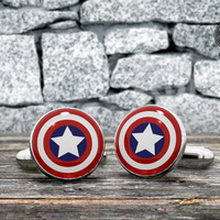 Comics Cufflinks - CAPITAN AMERICA  cuff links - Superhero accessories for men