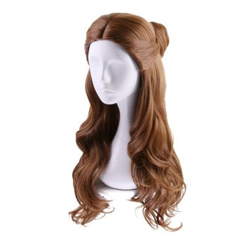 Princess Long Wavy Wig Movie Costumes Cosplay Brown Curly Wig for Women Girls