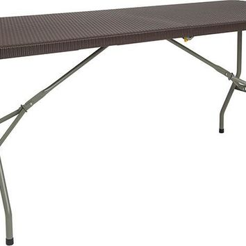 29''W x 71''L Bi-Fold Brown Rattan Plastic Folding Table