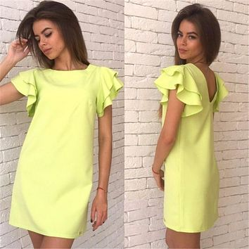 Fashion Summer Dress Style Butterfly Sleeve Casual Sexy Backless Beach Mini Casual Women's Dresses