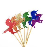 Rainbow Unicorn Cupcake Toppers - 12 Glitter Cupcake Toppers - Birthday Party Supplies // Baby Shower Decor // Fantasy Party