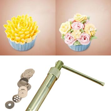 New Stainless Steel Sugar Paste Extruder Craft Gun Tips Craft Fondant Cake Sculpture Polymer Clay Tools Random Color