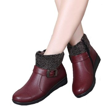 Women Winter Boots Female Zip Ankle Boots Waterproof Warm Snow Boots Ladies Leather Shoes Woman Fur Botas Mujer Size 35-40