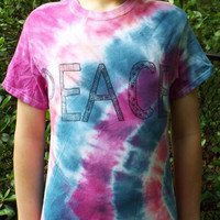 Tie Dye Peace Shirt, adult S- Tie Dye Shirt w Zentangle Peace- Hippie Shirt- Boho Tshirt- Tiedye Shirt- Peace Tshirt- Hippie Teen