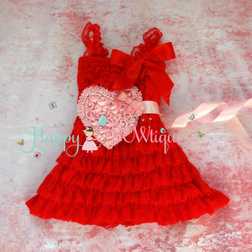 Red Heart Valentine Lace Dress, Valentines dress, red Dress,baby dress,Birthday outfit,girls dress,wedding,baby girls dress,Valentines