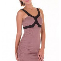 TAUPE COLORBLOCK BODYCON DRESS @ KiwiLook fashion