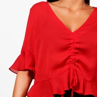 Alice Ruched Front Ruffle Hem Blouse | Boohoo