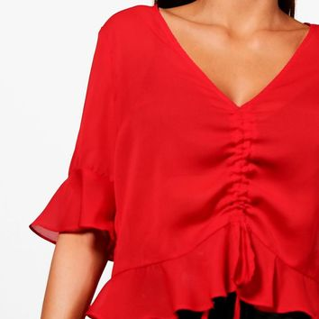 Alice Ruched Front Ruffle Hem Blouse   Boohoo