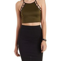 Olive Faux Leather-Trim Caged Crop Top by Charlotte Russe
