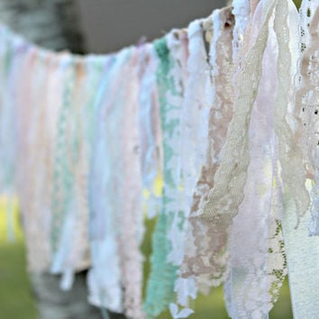 Lace Garland, Boho Chic Lace Bunting, Pastel Garland, Party Decor, Rustic Wedding Garland, Photo Prop, Shabby Chic Garland