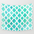 Watercolor Mint Diamonds Wall Tapestry by Micklyn