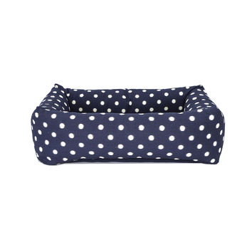 Bolster Bed, navy ikat dot with solid blue cushion