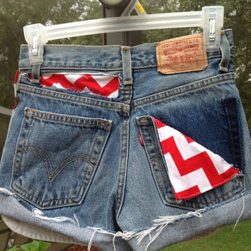 "Red White Chevron High Waisted Levi Shorts Studded with Pocket  ""Your Size""   //SUZNEWS Etsy Store//"