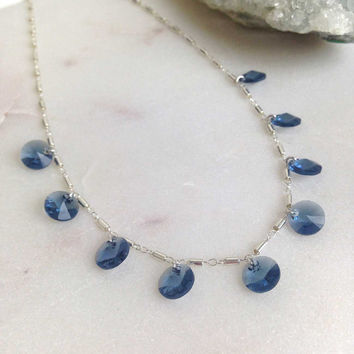 Gia in Sterling Silver with Blue Swarovski Crystals