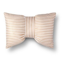 Xhilaration® Metallic Stripe Bow Decorative Pillow - Gold/White (Square)