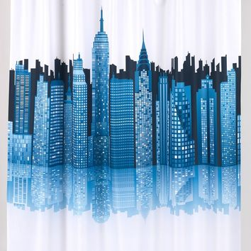 Cityscape Print Fabric Shower Curtain