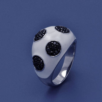 .925 Sterling Silver Rhodium Black Rhodium Plated White Enamel Black Pave Set Cubic Zirconia Dome Ring: Size:5