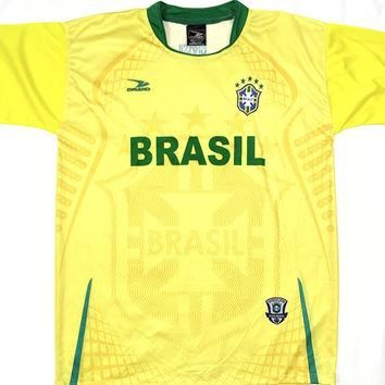 "Brasil Yellow 1 Country Soccer Jersey ""One Size"" =Athletic Men's Large by Drako"