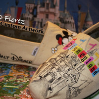 Limited Time sale. Vintage Disneyland and Mickey Mouse kissing Minnie Mouse Themed Custom painted Disney TOMS Wearable art