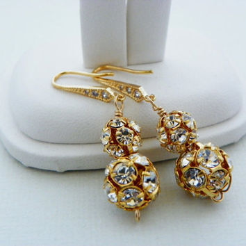 Gold Rhinestone Earrings, Glamorous Wedding Jewellery, Gold Dangle Earrings, Elegant Bridal Jewelry, Bridesmaids Gift, Wedding Accessories.
