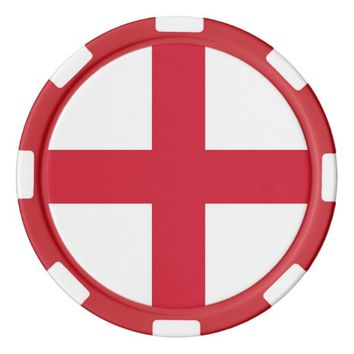Poker chips with Flag of England, United Kingdom