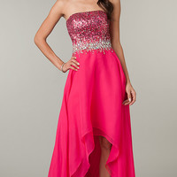 High Low Strapless Formal Dress