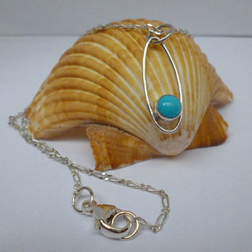 Sleeping Beauty Turquoise Cabochon Chain Pendant by DWorks on Etsy